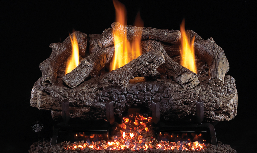 fireplace logs charred frontier oak