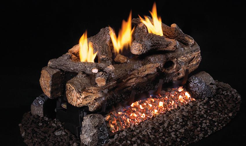 fireplace logs evening fyre split see thru
