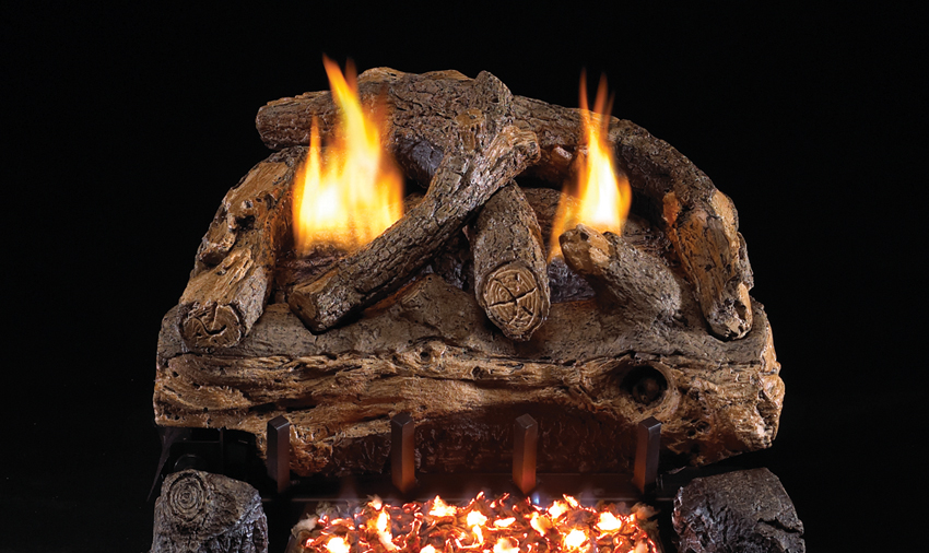 fireplace logs evening fyre split